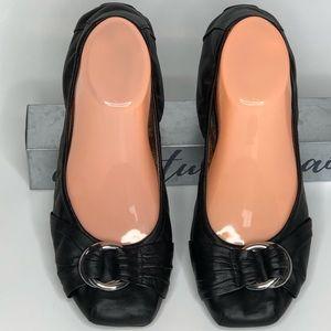 Black Leather Flats size 8.5 block toe comfortable